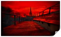 Norwich Cathedral From The Jarrold Bridge, Print