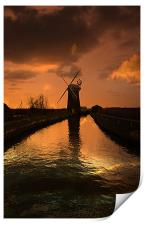 Horsey Mill At the End Of The Day, Print