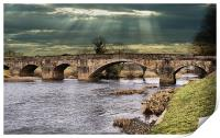 Edisford Bridge, and Sun Rays, Print