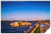 Riverside Wreck at High Tide, Print