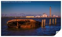Riverside Wreck at High Tide, Print