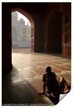 Tourist Photographing Taj Mahal, Print
