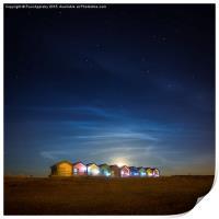 Blyth Beach Huts at Moon Rise, Print