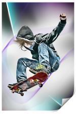 Extreme Skateboarding Jump Closeup, Print