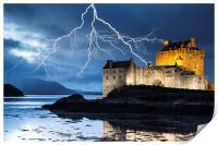 Lightning over Eilean Donan Castle, Print