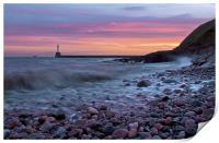 Aberdeen South breakwater light at dawn, Print