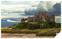 Cloudy Bamburgh Castle, Print