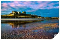 Bamburgh Castle Evening Sun, Print