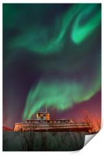 steamboat under northern lights, Print