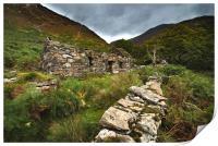 Old Welsh cottage Snowdon , Print