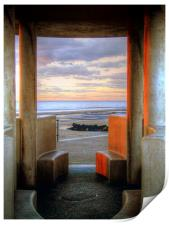 Granite Benches - Cleveleys Prom, Print