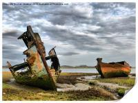 Wrecks at Fleetwood Marsh., Print