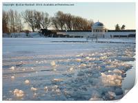 Frozen boating Lake. , Print