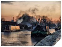 Sunset on the Frozen Lancaster Canal, Print