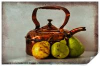 Copper kettle with pears, Print