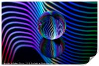 Abstract art Rainbows in the glass ball., Print