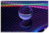 Abstract art Checkered lines in the glass ball, Print