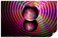 Abstract art Circle of reds in the crystal ball, Print