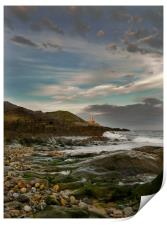Mumbles Lighthouse from Bracelet Bay., Print