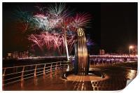 New Year Fireworks, Swansea., Print