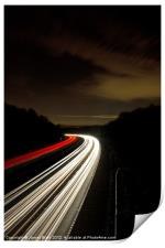 Motorway light trails at Crawley, Sussex, Print