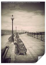 Swanage Pier Black and White Antiqued, Print