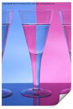 Pink & Blue Wine Glasses, Print