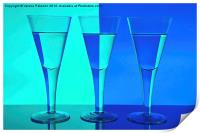 Three Wine Glasses in Blue, Print