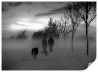 Dog walkers in the winter mist, Print