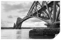 Forth Rail Bridge north east view black and white , Print