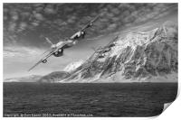 RAF Mosquitos in Norway fjord attack B&W version, Print