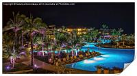 Evening picture of the swimming pool area on a res, Print