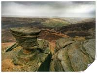 Rock Formations at Fairbrook Naze, Derbyshire., Print