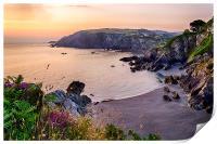Sandy Cove, Lee Bay North Devon., Print