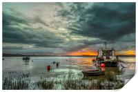Houseboat on the River Taw, Print