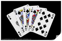 Playing Cards, Royal Flush on Black Background, Print