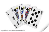 Playing Cards, Royal Flush on White Background, Print
