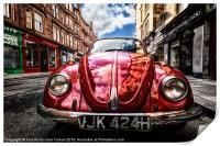 Vintage Beetle on the street, Print