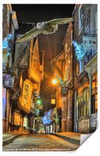 York Shambles Xmas Owl, Print