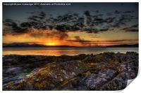 rocky sunset, Print