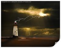 lighthouse and lightning storm, Print
