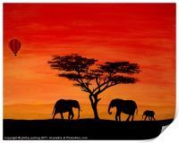 Elephants at sunset, Print