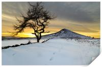 Winter Sunset Roseberry Topping Teesside, Print