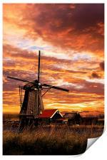 Sunrise on a dutch windmills, Print