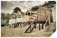 Vintage Beach Huts. , Print