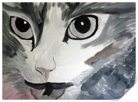 cats angry eyes painting, Print