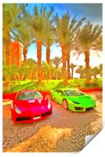 Dubai Super Cars Pop Art, Print