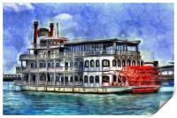 New Orleans Paddle Steamer Art, Print