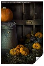 Pumpkins on Straw, Print