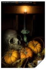 Skull and Pumpkins, Print